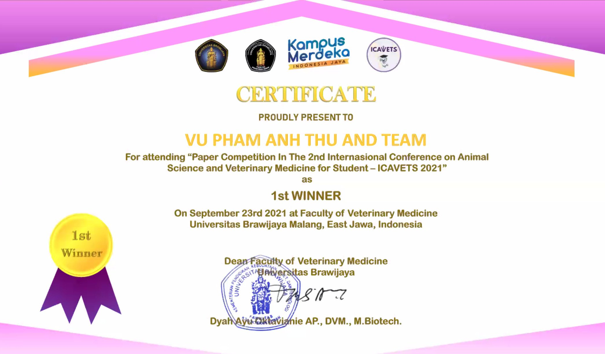 certificate icavets 2021
